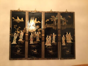 Chinese shell art scenes on black lacquer - each $125/4 for $400