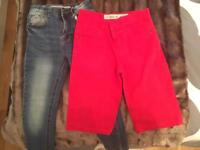 Skinny Fit Jeans and Red Shorts - Age 7-8