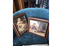 Set of 2 framed pictures of Victorian children