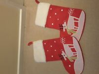 2 x christmas reindeer in snow stockings, fluffy tops, hanging hooks