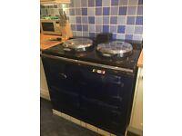 AGA. Oil fired, 2 oven, 2 hob, dark blue. £400 ono