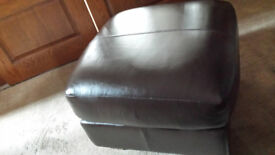 Lovely M & S Brown Leather Footstool & Storage Poufee