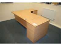 Office Desks in Beech - Excellent Condition - LH or RH