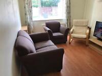 Chocolate brown fabric sofas, IKEA chair