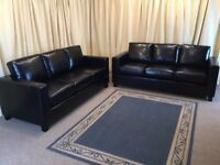 Black Leather Suite 2x 3 Seaters Sofas - New Ex Display - FREE Delivery Available