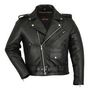 Mens Buffalo Hide Leather Motorcycle style Jacket