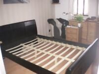 double leather sleigh bed