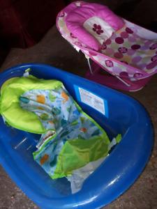 Baby bath tub and baby bath tub chair. $20 for both.