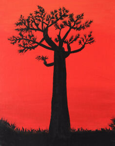 Baobab Tree Hand-Painted Abstract Art (Acrylic) on Canvas