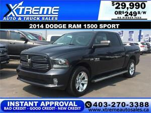 2014 DODGE RAM SPORT CREW *INSTANT APPROVAL $0 DOWN $249/BW