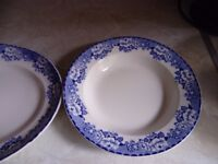 old blue willow pattern plates x3