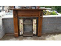 Lovely looking Victorian Style Cast Iron Tiled Insert Fireplace with Wood Surround