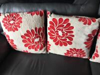 4 Red & Beige Cushions - Collection from Whitefield