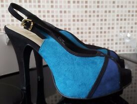 Brand New & Boxed - Blue Peep Toe Heels - Size 7 EEE (Wide Fit)