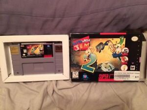 Earthworm Jim 2 super nintendo snes cleaned tested earth worm