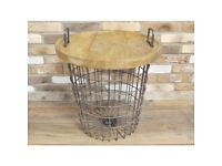 *SIDE TABLE* - STORAGE BASKET DETACHABLE LID RUSTIC INDUSTRIAL CONSOLE TABLE
