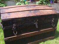 Large antique wood trunk, storage chest