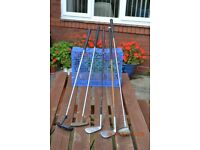 GOLF CLUBS FOR SALE. 5 CLUBS IDEAL FOR PITCH & PUTT OR LARGE GARDEN /OPEN SPACE KNOCKABOUT