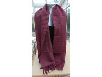 Ladies Scarf Color Burgundy Black and White.