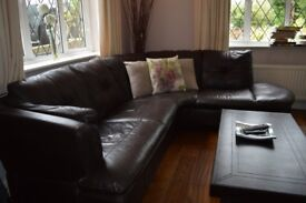 Brown Faux leather corner sofa