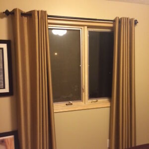 Gold Black out Drapes - Ironed & Ready to Hang