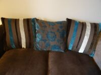 Sofa with scatter cushions, sofa bed, very comfy and in v.good condition