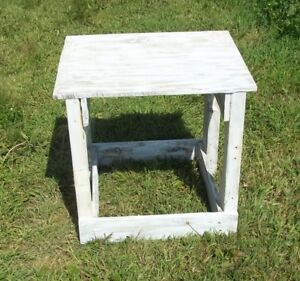 Shabby Chic White Rustic Wood End Table