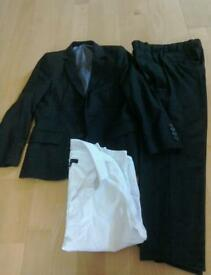 Boys Marks and Spencers Black suit and white shirt