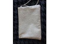 White floral women's clutch bag