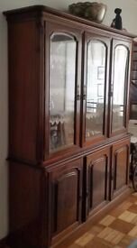 Large glass top and wooden bottom 3 door cupboard, excellent condition