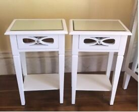 White Mirrored Bedside Tables Set of x2