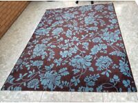 Large Chocolate Brown & Duck Egg Blue Rug. In excellent condition. Size: 160cm x 230cm