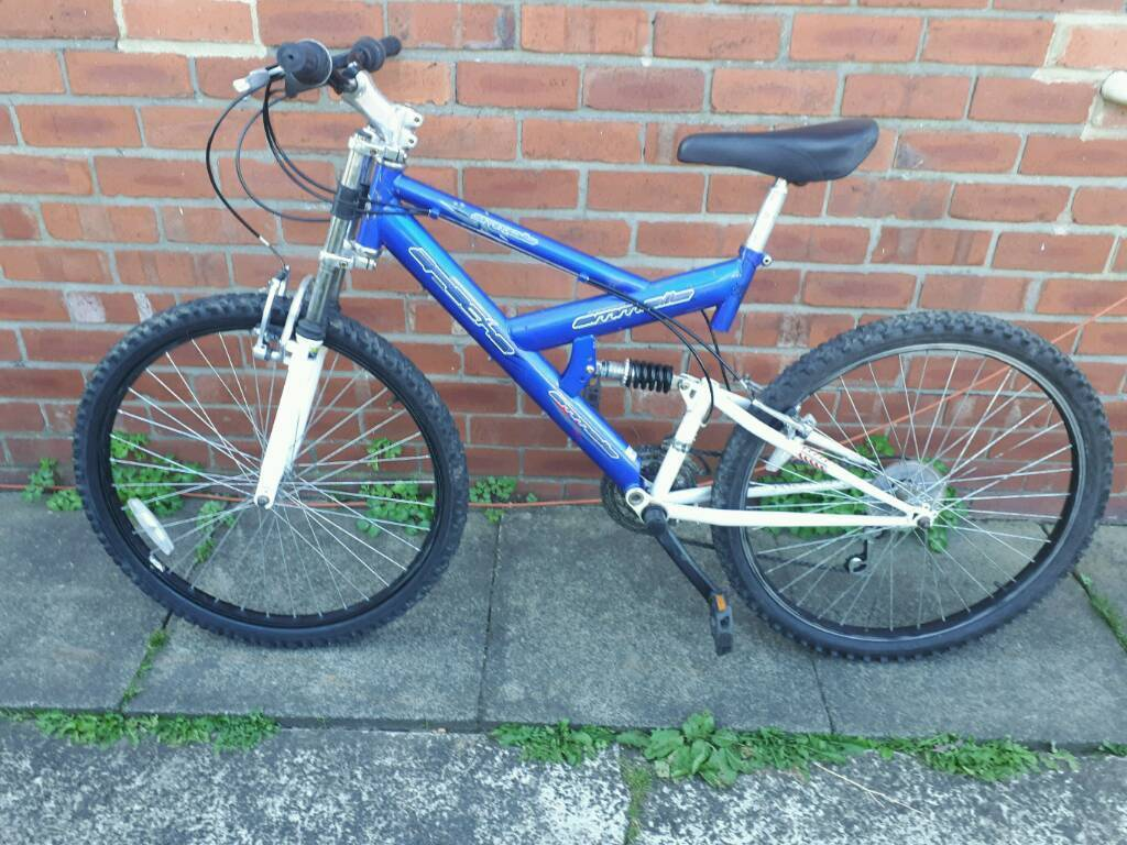 Adults Emmelle Apache mountain bike 18 inch frame good working condition and ready to ridein Sunniside, Tyne and WearGumtree - 26 inch wheels with good tyres. 18 speed gripshift gears. Dual suspension. Good brakes. Good seat. Can deliver for cost of fuel. Contact Bill 07478309256 sunniside ne165nu near gateshead