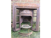 Cast Iron fire surround inc tiles and original wood pegs