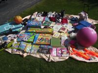 CAR BOOT SALE BUNDLE, BOOKS, SHOES, MAKE UP, OUTSIDE TOYS, BARBIE, GAMES