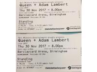 Queen Tickets Birmingham Standing 30th Nov