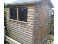 """Heavy duty loglap shed. 12 months old. 6ft 2"""" x long x 5ft 3"""" wide + shelving / drawers if wanted"""