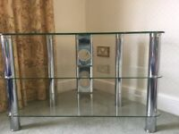 TV Television glass and chrome stand from John Lewis