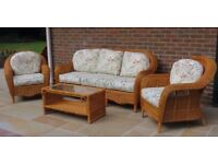 3 piece conservatory suite with glass top table