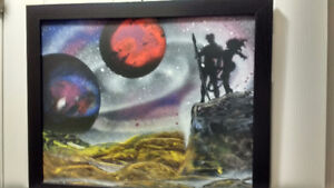Dune Inspired Original Spray Painting with frame - Mint Conditio