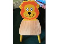 2 x children's John Crane wooden chairs and round table.