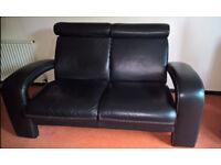 Black leather stylish dfs 2 seater sofa, 1500mm long x 1000deep x 900 high, vgc.