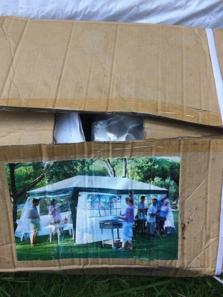 3m x 6m waterproof large garden gazebo, self- assembly steel frame, 4 side panels, 19.5 kg