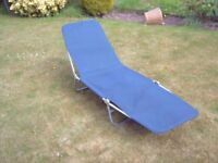 SUNLOUNGER, BLUE CANVAS, ALUMINIUM FRAME, MULTI POSITION BIT FOLDS FLAT WHEN NOT IN USE,