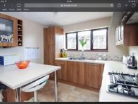 Fitted kitchen with Worktops. Electric oven, gas hobs, fridge and Dishwasher.
