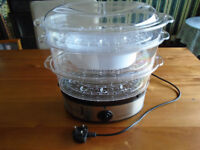 """""""COOKWORKS"""" ELECTRIC FOOD STEAMER, 3 TIER, BRAND NEW PLUS OTHER HOUSEHOLD ITEMS"""