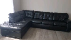 Large faux leather sectional