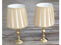 Two Brass Lamps With Silk Lampshades