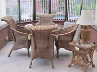 Rattan Glass Top Dining Table and Chairs