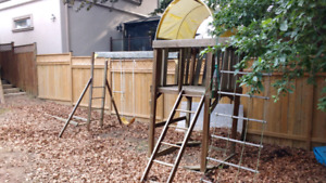 Playground with rope ladder